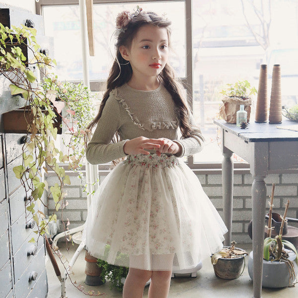 Frankie Tulle Skirt, little girls floral tulle skirt in cream