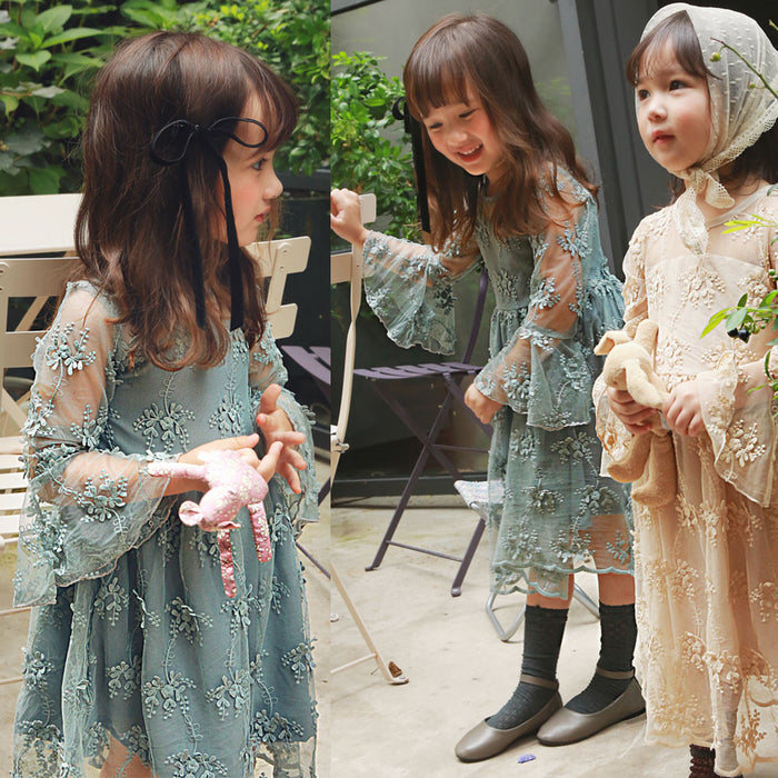 Flower girl's pretty Giselle Lace Dress with bell sleeves