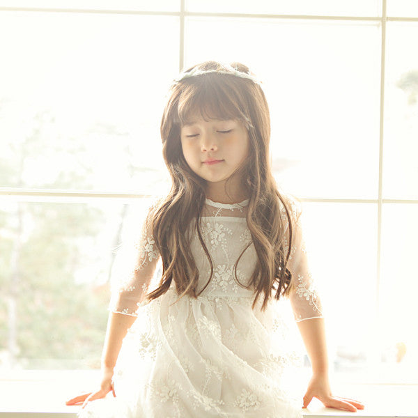 Hayley Lace Dress, little girls mid-length lace dress in ivory