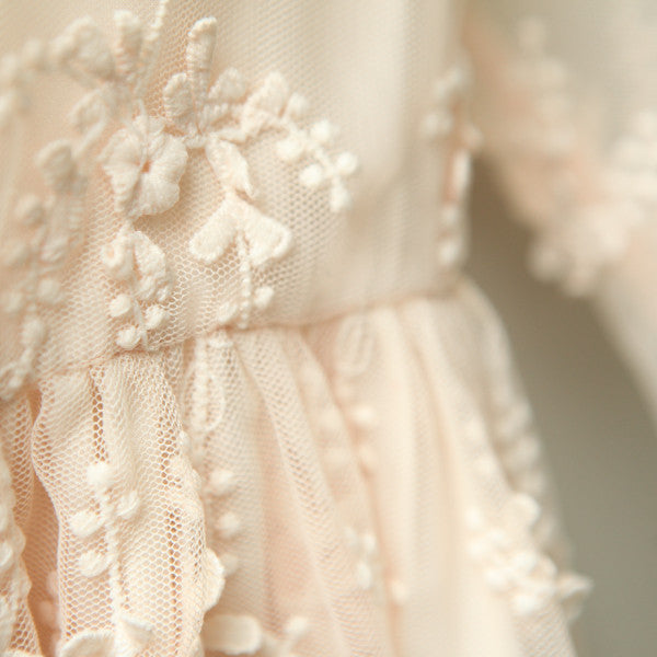 Hayley Lace Dress, little girls mid-length lace dress in peach beige