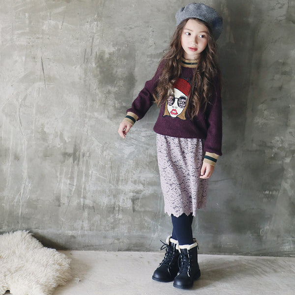 Juno Lace Skirted Leggings for little girls