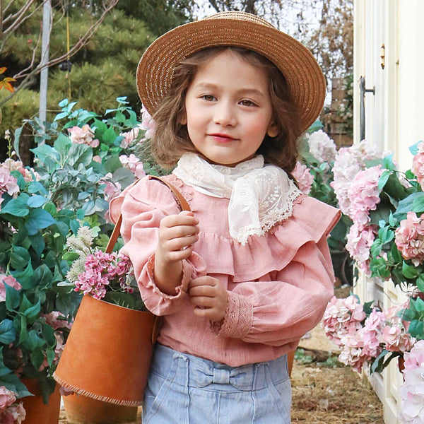 Isabel Ruffle Blouse, little girls spring blouse in pink