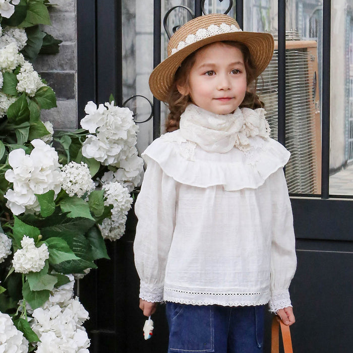 Isabel Ruffle Blouse, little girls spring blouse in ivory