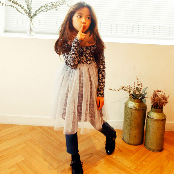 Janice Floral Dress for little girls, fall long sleeve dress in black