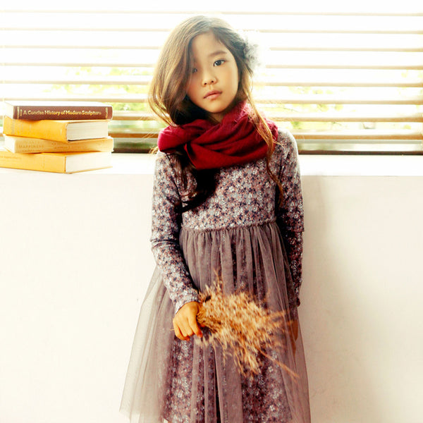 Janice Floral Dress for little girls, fall long sleeve dress in pink