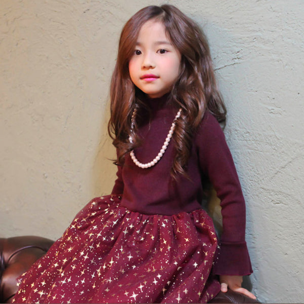 Jazzy Banquet Dress, little girls tulle dress in wine