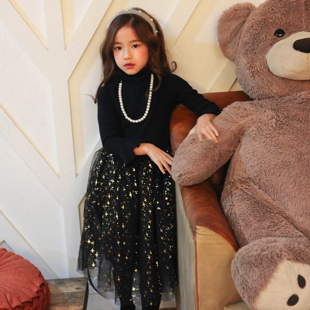 Jazzy Banquet Dress, little girls tulle dress in black
