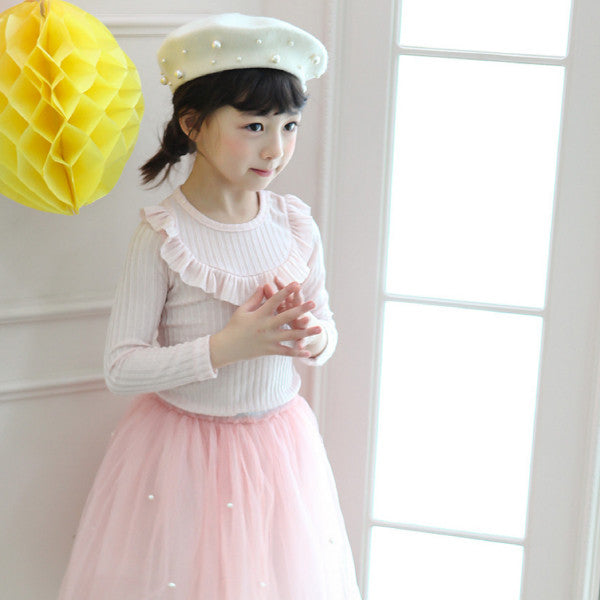 Jerry Ruffle Top, little girls basic ruffle top in pink