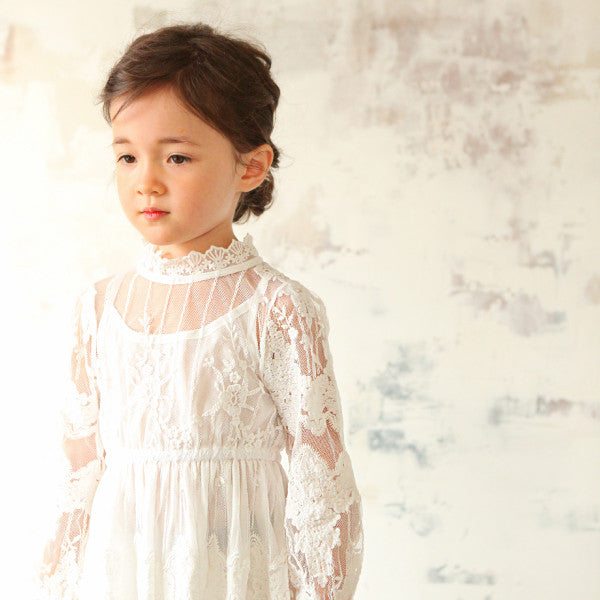 Jessie Lace Dress, little girls lace crochet dress in ivory
