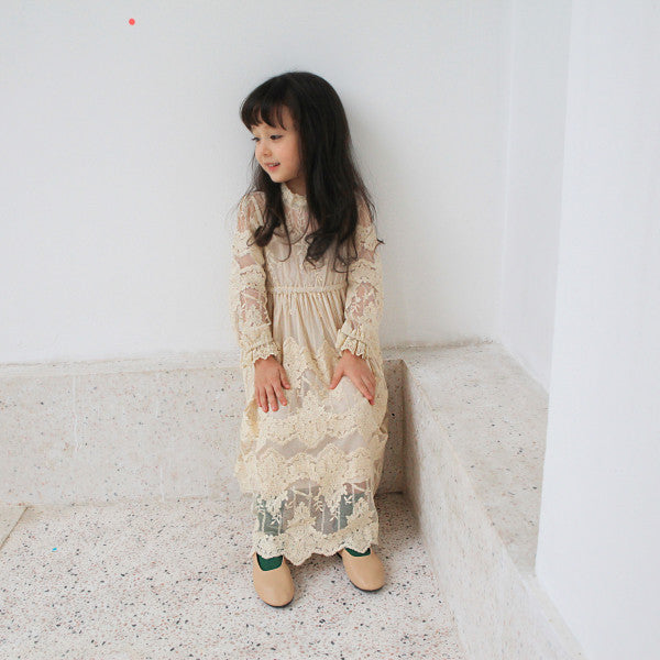 Jessie Lace Dress, little girls lace crochet dress in beige