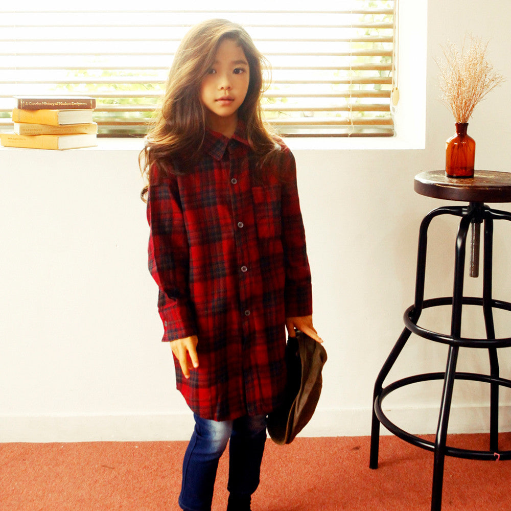 Jey Oversized Plaid Shirts, unisex long sleeve top in red