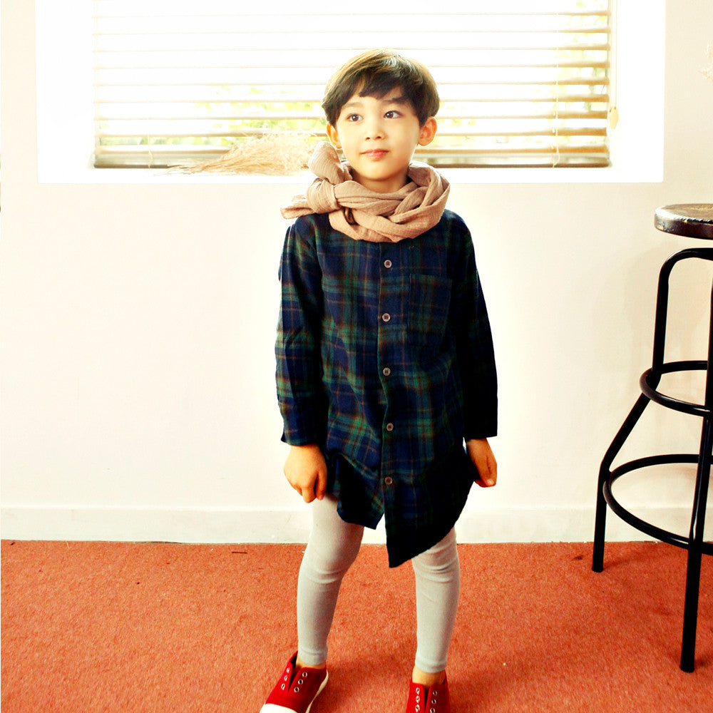 Jey Oversized Plaid Shirts, unisex long sleeve top in deep green