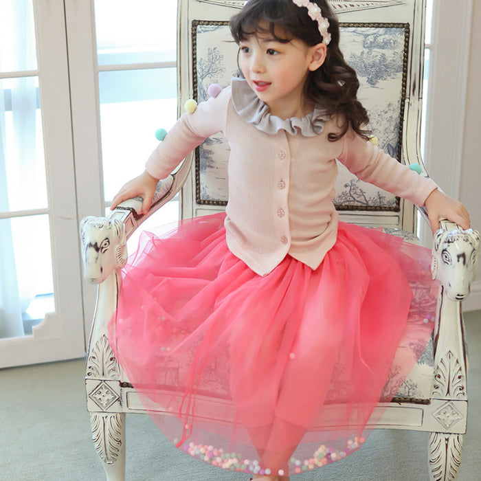 Jo Pom Pom Tulle Skirt, little girls mid length tutu skirt in pink