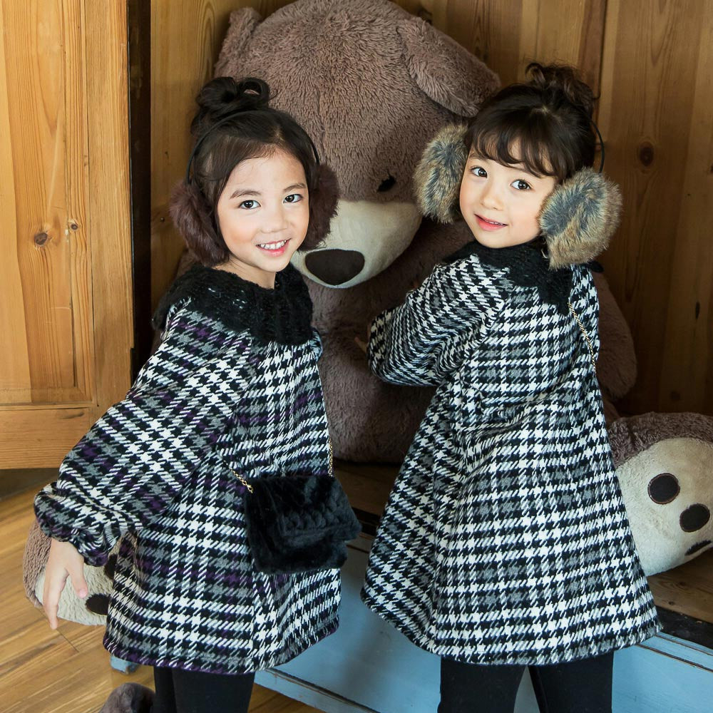 Joni Houndstooth Check Dress, little girls long sleeve dress