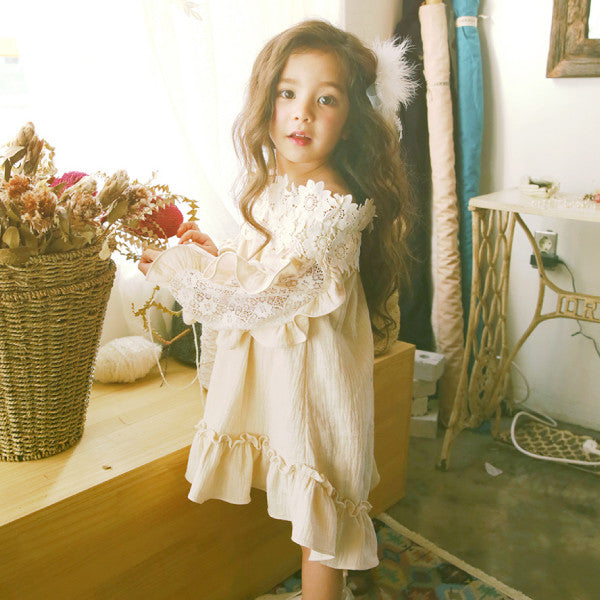 Kerry Lace Dress, little girls off-shoulder floral dress in cream