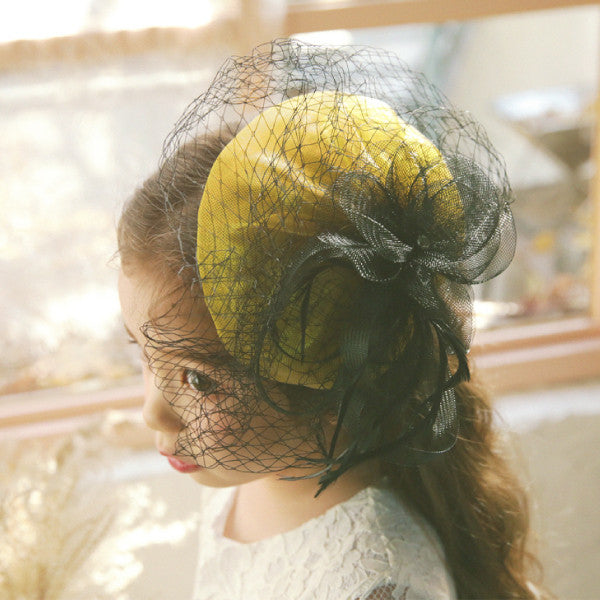 Kiley Mesh Hair Clip, little girls lace hair piece in yellow