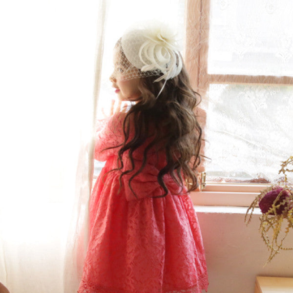 Kiley Mesh Hair Clip, little girls lace hair piece in ivory