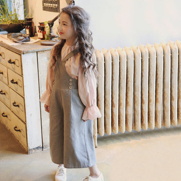 Lake Overall, little girls overall pants in grey