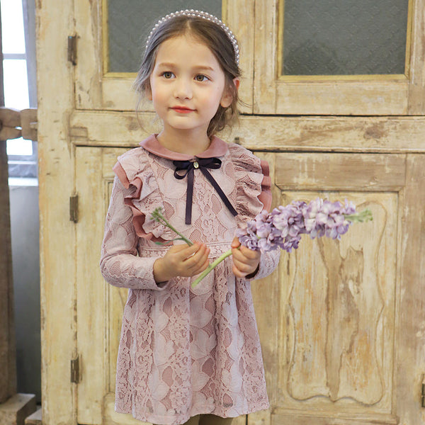 Lilah lace ruffle dress for little girls in pink