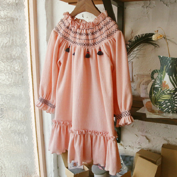 Lonnie Ruffle dress, little girls ruffle dress with tassel in pink