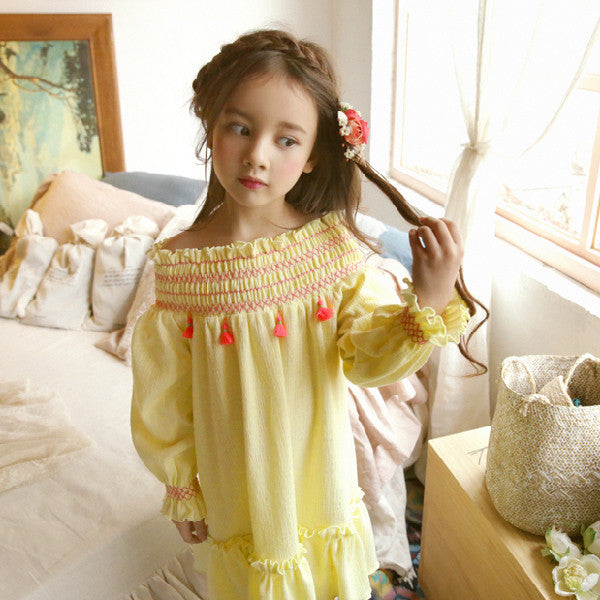 Lonnie Ruffle dress, little girls ruffle dress with tassel in yellow