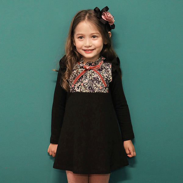 Louisa Floral dress for little girls in black