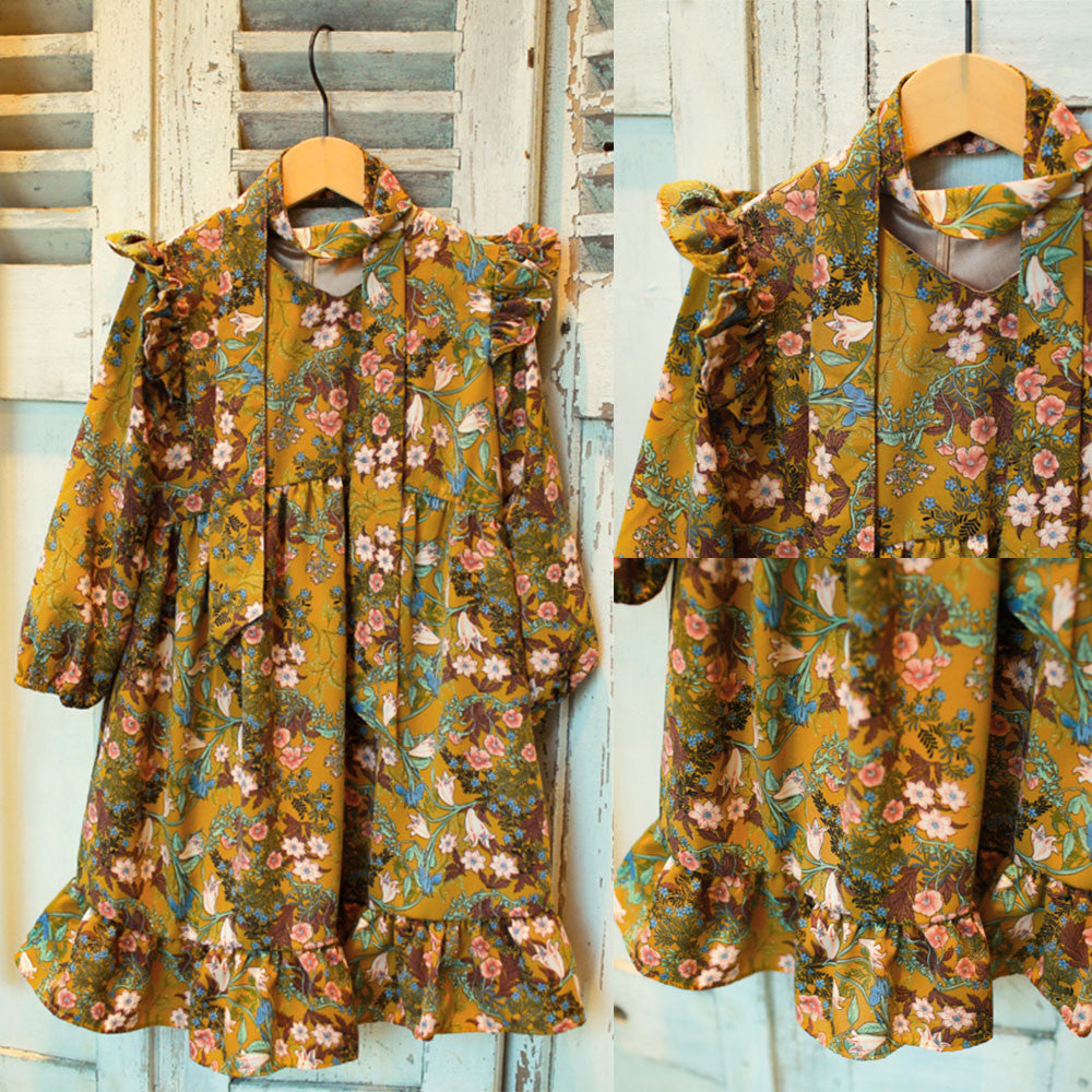 Lucia Floral dress for little girls in mustard