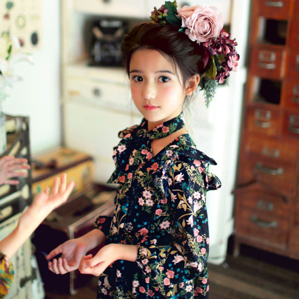 Lucia Floral dress for little girls in navy