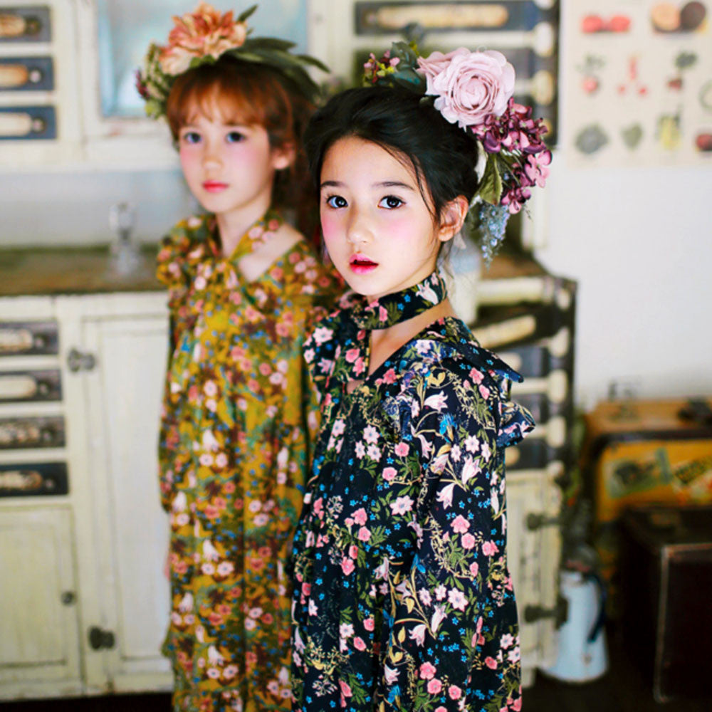 Lucia Floral dress for little girls in mustard/navy