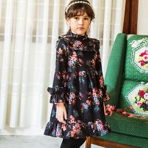 Sandra Floral Ruffle Dress for little girls with thermal lining