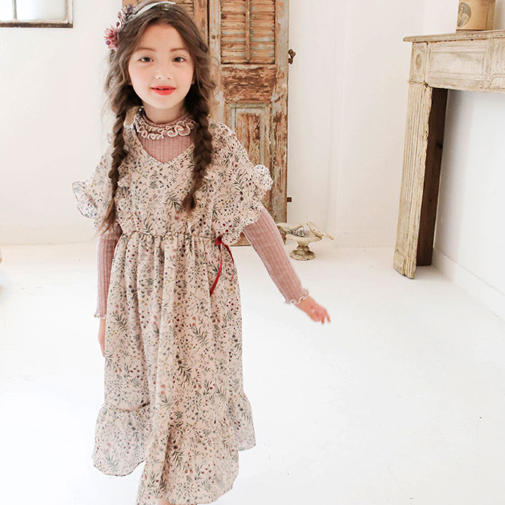 Malina Chiffon Dress for little girls in beige