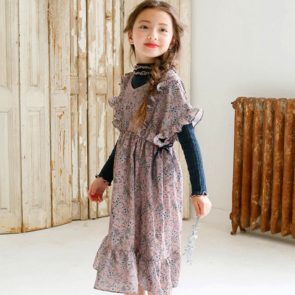 Malina Chiffon Dress for little girls in beige in pink