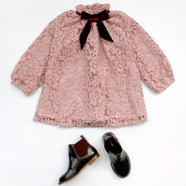 Marcia Lace Dress with a ribbon at yoke for little girls
