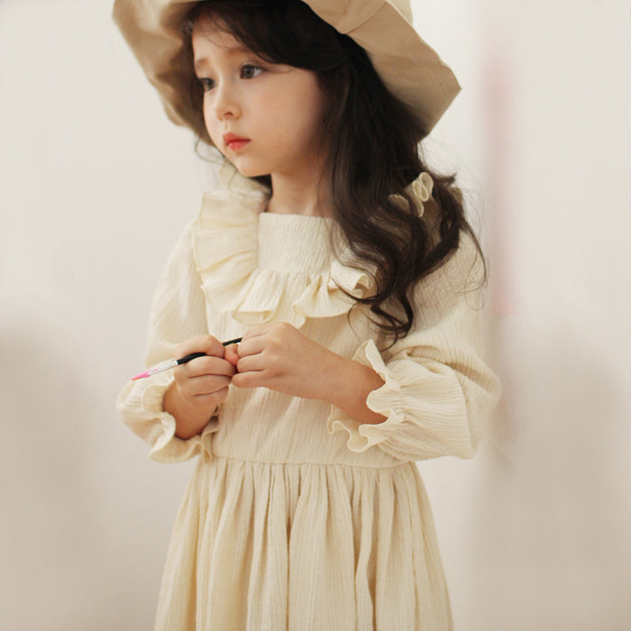Marley Ruffle Dress, little girls ruffle long sleeve dress in beige