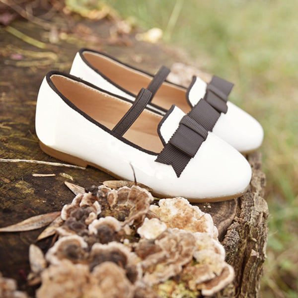 Maron Ribbon Flats, little girls flats in white