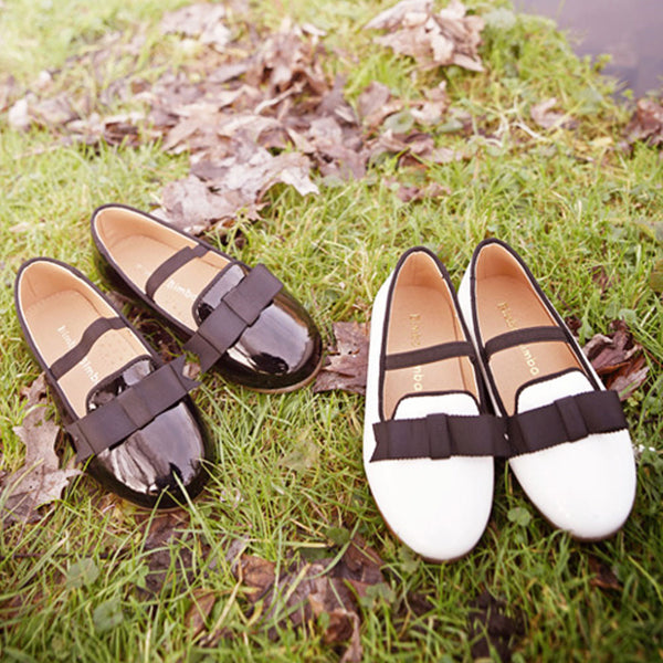 Maron Ribbon Flats, little girls flats in white and black