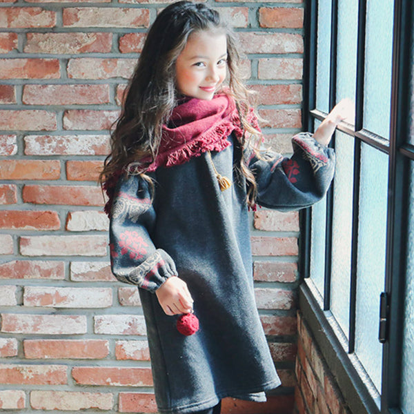 Matilda Ethnic Dress, little girls long sleeve dress in charcoal