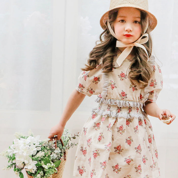 Merrit Floral Dress [BEIGE / 6-7 YRS]