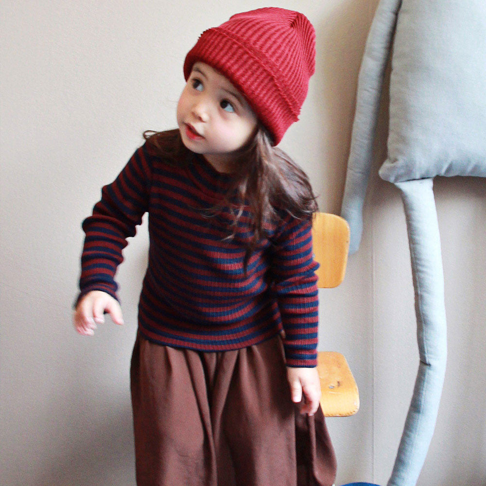 Mimi Stripe Long Sleeve Top, little girls long sleeve half turtleneck in wine