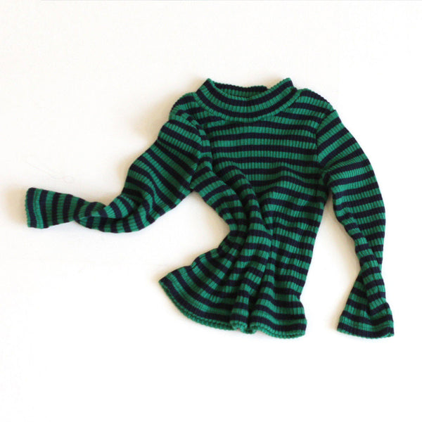 Mimi Stripe Long Sleeve Top, little girls long sleeve half turtleneck in green