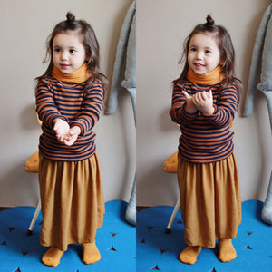 Mimi Stripe Long Sleeve Top, little girls long sleeve half turtleneck in brown