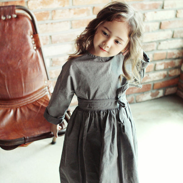 Momo Cotton Dress in Charcoal, girl long sleeve dress
