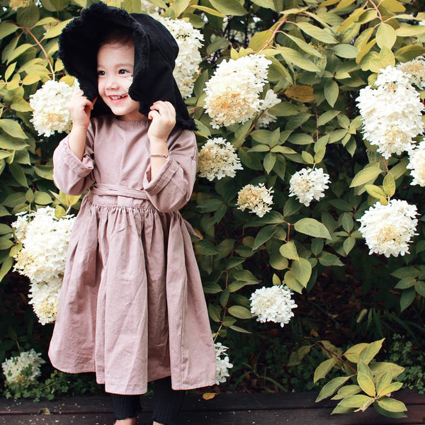Momo Cotton Dress in Dusty Pink, girl long sleeve dress