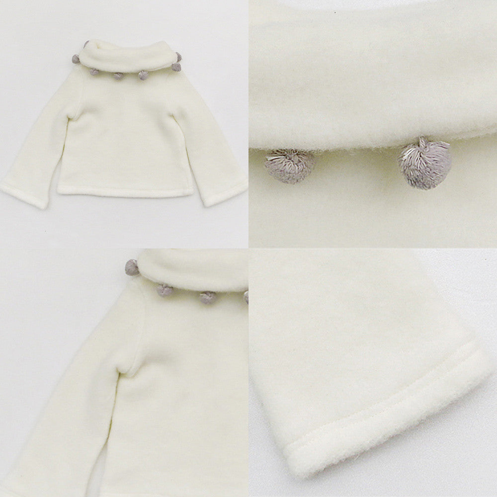 North Pom Top, Little girls winter top in ivory