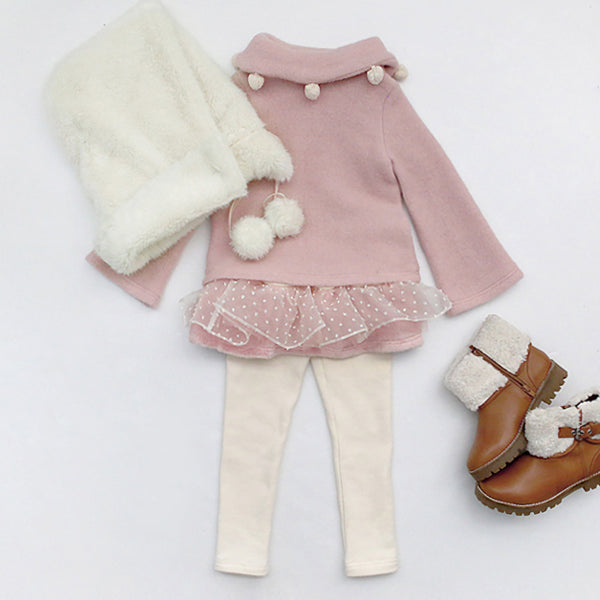 North Pom Top, Little girls winter top in pink