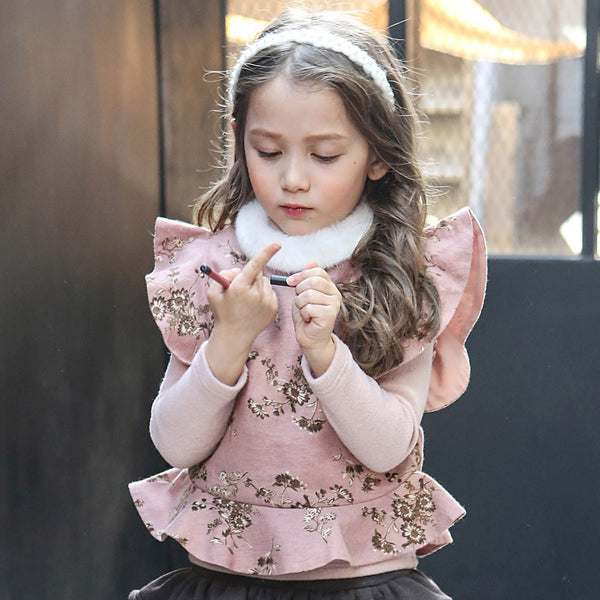 Pamiel Floral Vest, Little girls outwear in pink