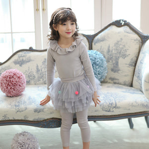 Peggy Skirted Leggings, little girls pom pom tulle in grey