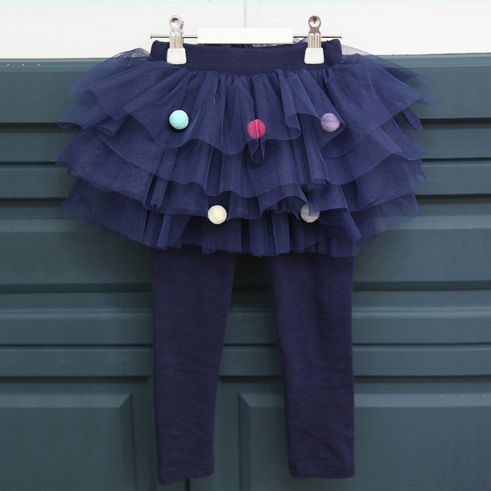 Peggy Skirted Leggings, little girls pom pom tulle in navy