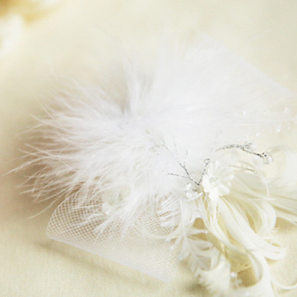 Peyton Feather Hair Clip, little girls feather ribbon hair piece in white
