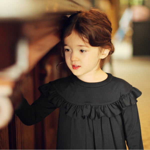 Philia Ruffle Dress, little girl ruffle long sleeve dress in black